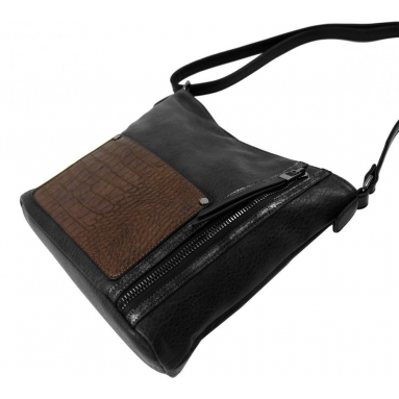 Dámská crossbody kabelka s čelní kroko kapsičkou F-014 tmavě šedá
