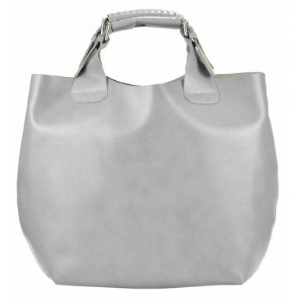 Velká světle šedá kožená dámská shopper kabelka