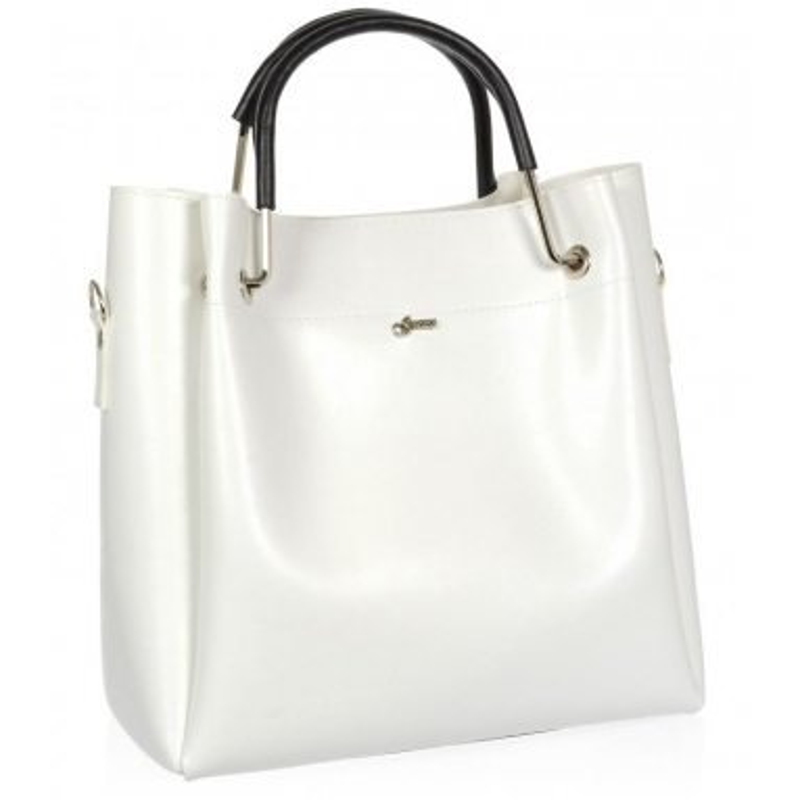 Bílá moderní dámská kabelka s černými ručkami S728 GROSSO