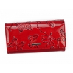 Cavaldi červená dámská kožená peněženka s motýly v dárkové krabičce