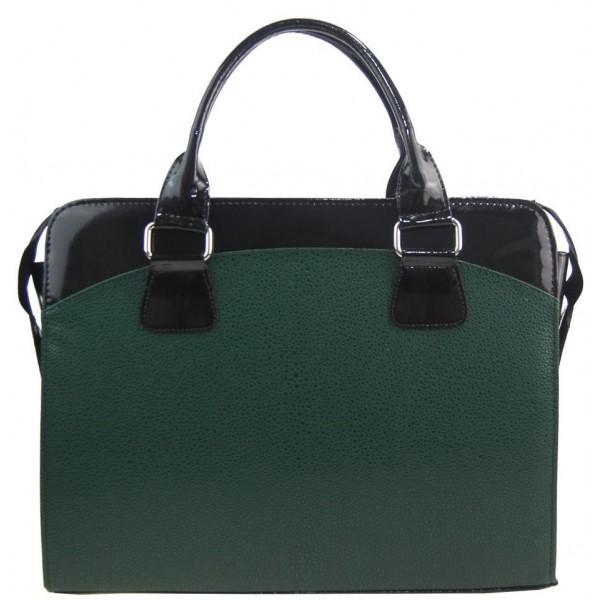Kožená dámská kabelka Shaila láhvová zelená