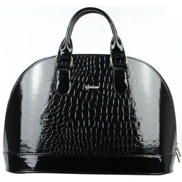 Elegantní černá lakovaná kabelka s krokodýlím vzorem S24 GROSSO