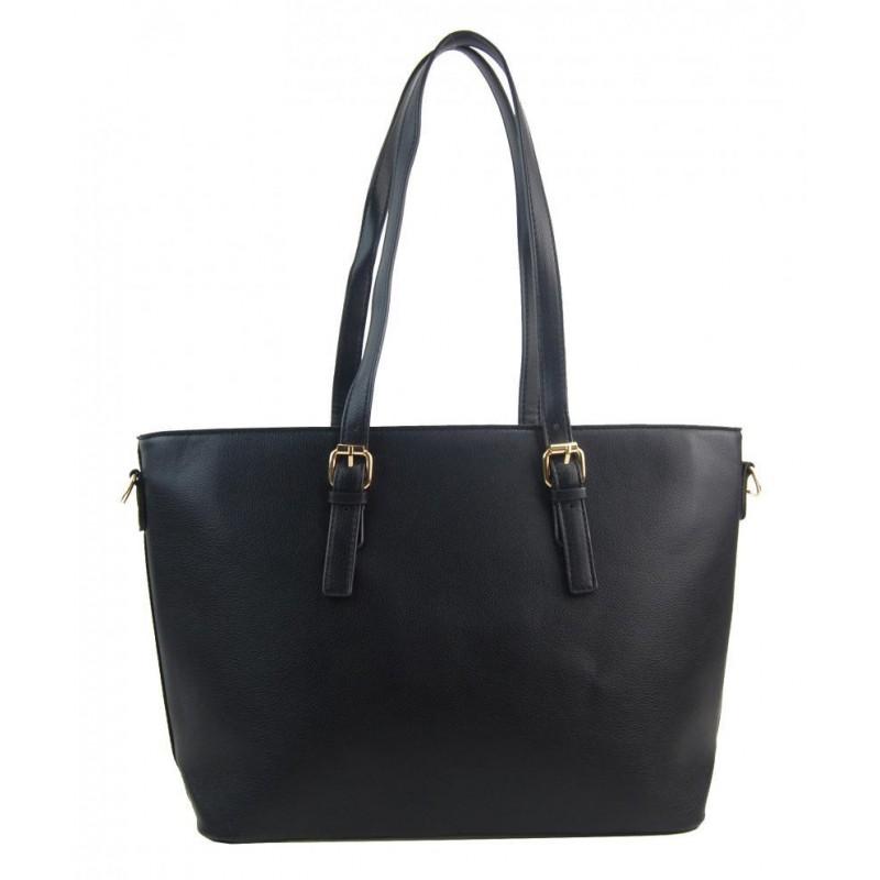 Velká černá dámská kabelka přes rameno s bambulkou 5136-BB