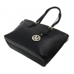 Velká tmavě šedá dámská kabelka přes rameno s bambulkou 5136-BB