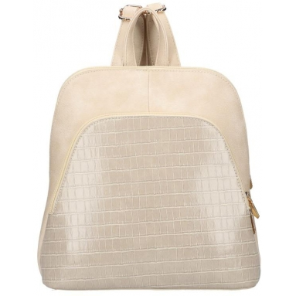 Béžový dámský módní batůžek v kroko designu AM0106